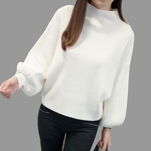 Bigsweety Women Lantern Sleeve Half Turtleneck 2018 Autumn Female Tops Women Sweater Clothes New Fashion Korean Tops 5 Colors