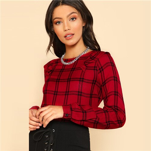 Dotfashion Red Plaid Ruffle Shoulder Grid Womens Tops And Blouses Autumn Shirts Women 2019 Clothing Party Spring Long Sleeve Top
