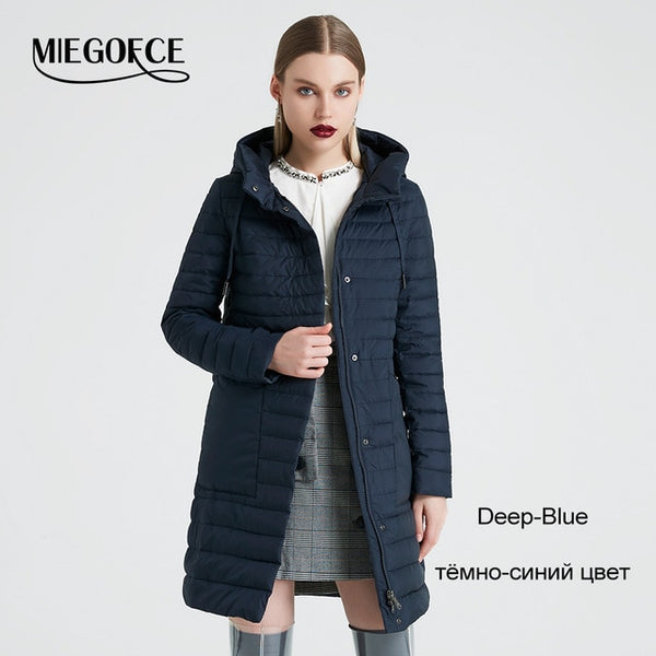 MIEGOFCE 2019 Spring And Autumn Women's Coat Windproof Hooded Women's Trench Simple Thin Spring Women's Jacket New Design