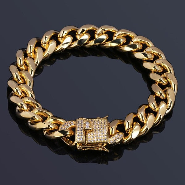 TOPGRILLZ 12mm Gold Color Plated Cuban Chain Bracelet With 1ct Lab Cubic Zirconia Clasp Hip Hop Bracelet For Men 8""