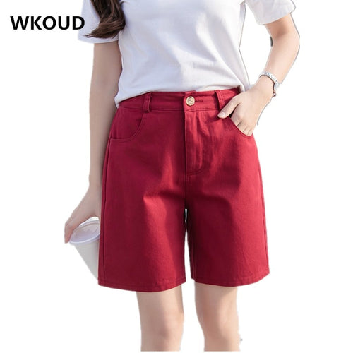 WKOUD 2019 Summer Shorts Women Candy Colors Cotton Shorts High Waist Short Pants Solid Students Casual Shorts Plus Size DK6001