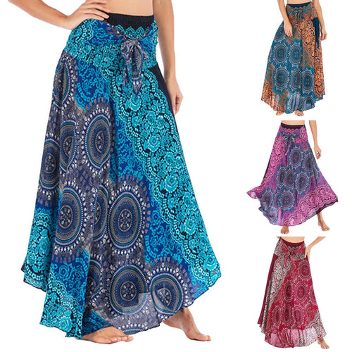 Womail Women Skirt Summer Fashion Long Hippie Bohemian Gypsy Boho Flowers Elastic Waist Floral Halter Skirt 2019 dropship f10