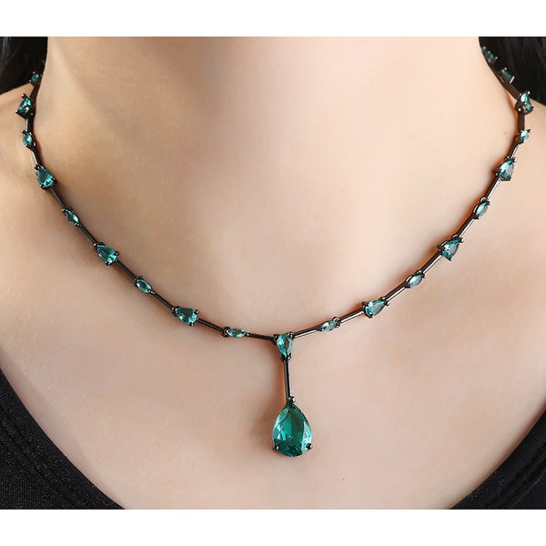 2019 Hot Black Copper Pendant Necklace Water Drop Green AAA Cubic Zirconia Black Fashion Necklaces For women jewelry statement