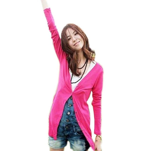 2018 Spring Candy Color Long Sleeve Cute Kawaii Sweater Cardigan Female Women Jacket Women Cardigan Girl Sweater College Style