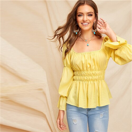 SHEIN Yellow Square Neck Elasticized Sleeve Shirred Peplum Top Blouse Weekend Casual Flounce Sleeve Slim Fit Sexy Ladies Tops