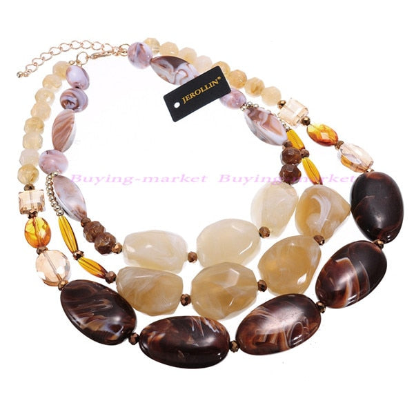 4 Colors Resin Crystal Boho Ethnic Style Handmade Rope Chain Statement Pendant Necklace Multi Layered Necklace Jewelry Woman
