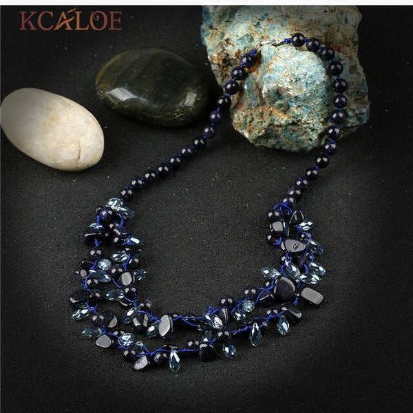 KCALOE Multicolor Onyx Natural Stone Necklace Handmade Woven Chocker Austrian Crystal Layered Necklaces Pendants For Women
