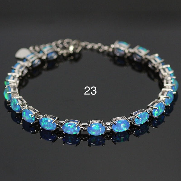 Haimis Blue Fire Opal Women Fashion Jewelry Silver Plated Opal Bracelets