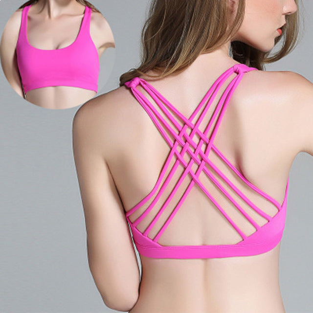 SALSPOR  New Arrival Sexy Women Sports Bra Padded Gathering Push Up Underwear Back Cross strap High Elastic Running Sports Vest