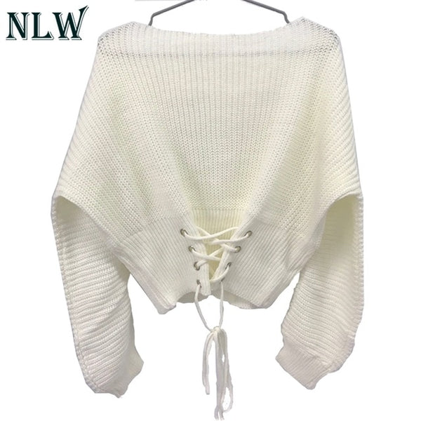 NLW Lace Up Crop Casual Women Sweater 2019 Autumn Winter Knitted Pullovers Long Sleeve O Neck Loose Jumper Top Bandage Sweater