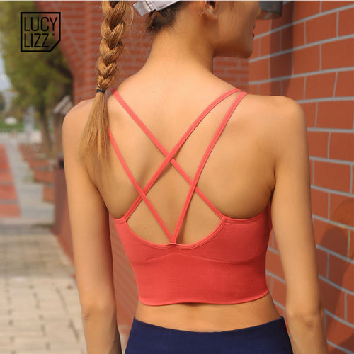 Light Support Strappy Sports Bra Sexy Women Back Cross Seamless Fitness Yoga Bra Top Padded Sport Brassiere Active Wear