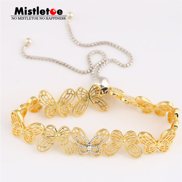 Authentic 925 Sterling Silver Openwork Butterflies Sliding Bracelet, Mistletoe Shine European Jewelry
