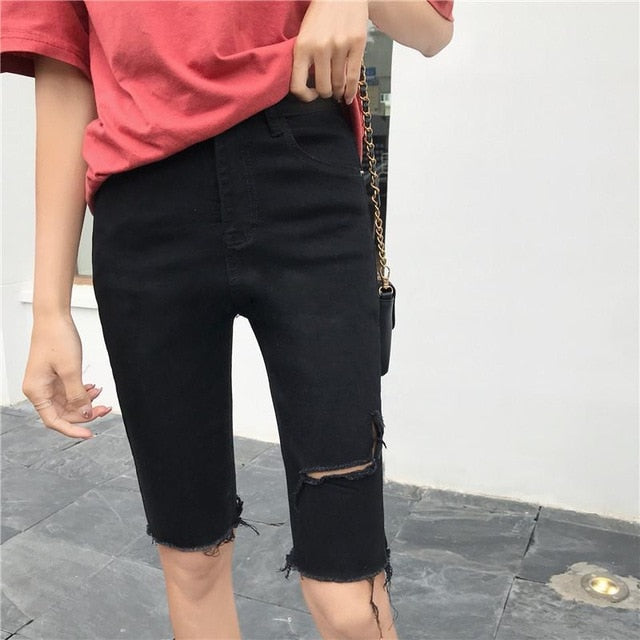 Skinny Jeans Short Women Knee Length Denim Ripped Jeans Mujer 2019 Pencil Capris Jeans Plus Size Summer Mom Denim Jeans  Vintage