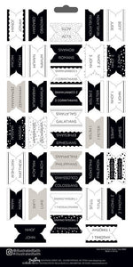 Books of the Bible Sticker Tabs, all 71 books  black and white - Illustrated Faith