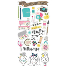 Load image into Gallery viewer, Crafty Girl Chipboard Stickers  31/pkg - Simple Stories