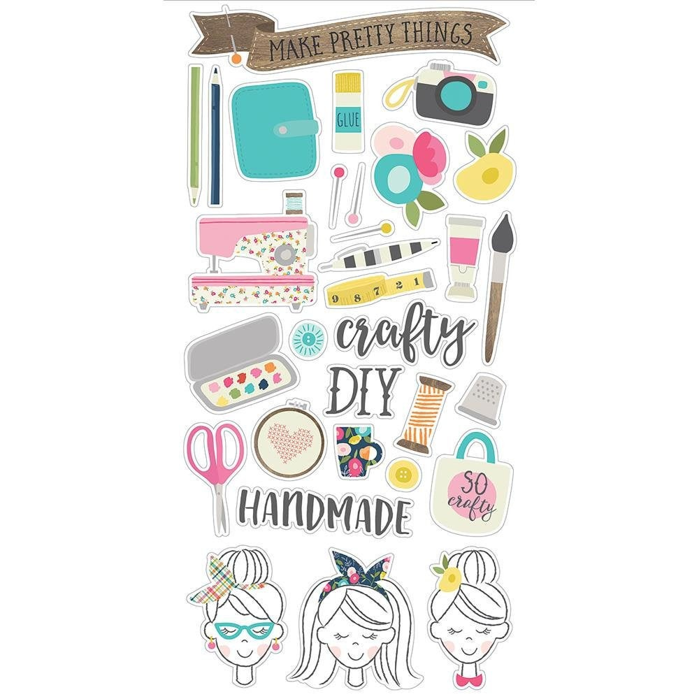 Crafty Girl Chipboard Stickers  31/pkg - Simple Stories