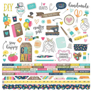 Crafty Girl 12x12 Cardstock Sticker Sheet - Simple Stories