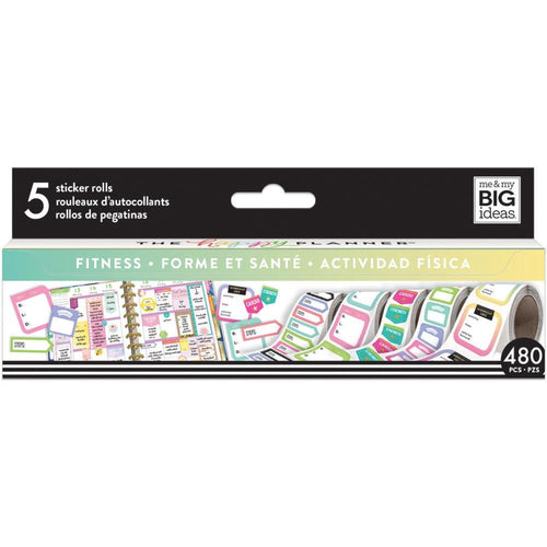 Fitness Sticker Rolls ( 5 rolls; total of 480 stickers) - Happy Planner