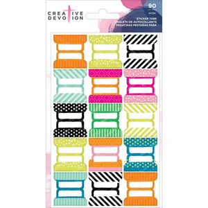 Blank Sticker Tabs, 6 sheets of 15 designs  90 pcs/pkg - Creative Devotion