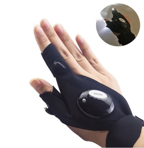 Fingerless Glove LED Flashlight for Outdoors/Electrical Repair Work