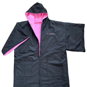 adult outdoor changing poncho pink colour front view