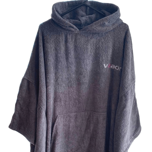 adult towel changing poncho in grey