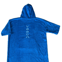 Load image into Gallery viewer, childrens towel poncho in blue back view