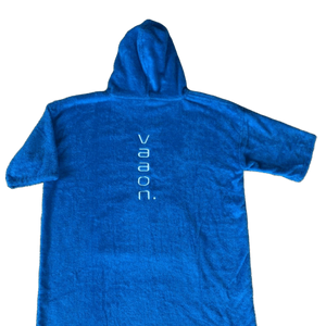 childrens towel poncho in blue back view