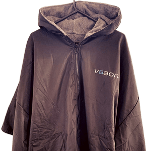 element outdoor changing poncho in grey front view