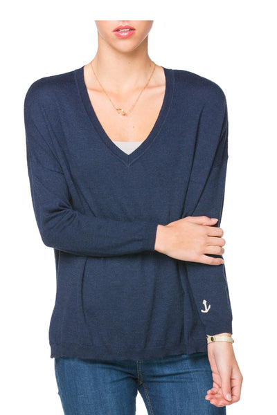 Our Favorite Deep V Pullover Sweater | Zen Blend | Embroidery