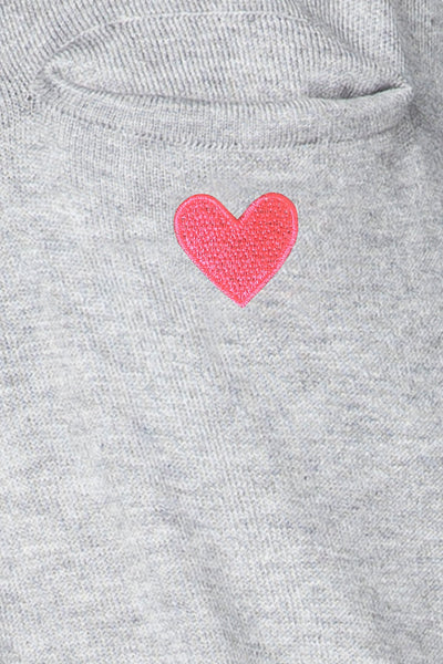 "Zen Patricia Pocket Crew Neck Pullover with ""heart"" embroidery - Subtle Luxury"