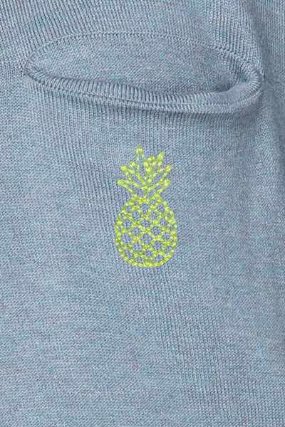 "Zen Patricia Pocket Crew Neck Pullover with ""pineapple"" embroidery - Subtle Luxury"