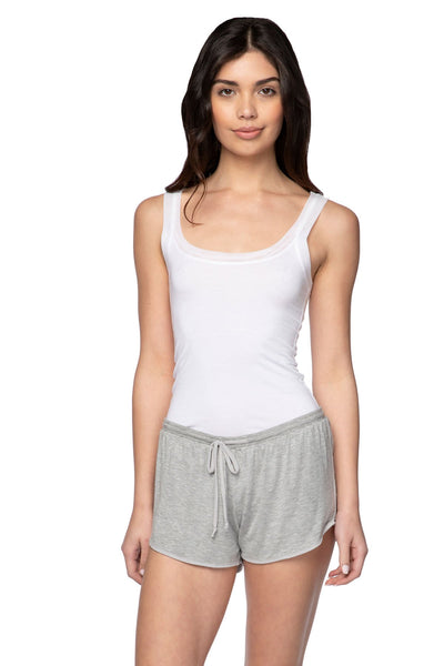 Stretch Knit Lounge Short with Mesh Trim in Heather Grey