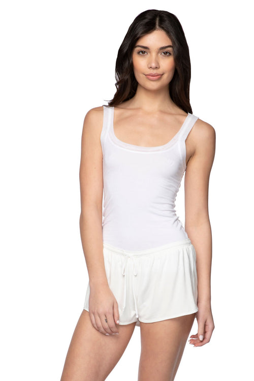 Stretch Knit Lounge Short with Mesh Trim in Nude (Ivory) - Subtle Luxury