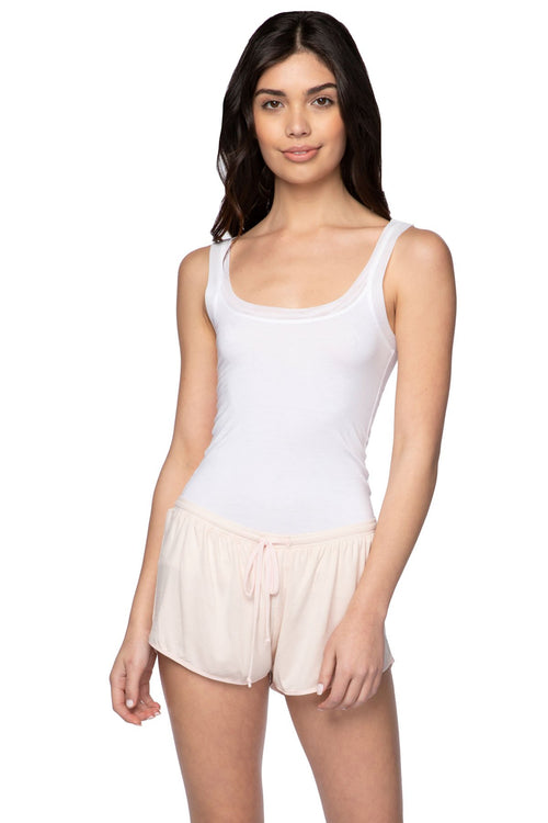 Stretch Knit Lounge Short with Mesh Trim in Tea Rose - Subtle Luxury