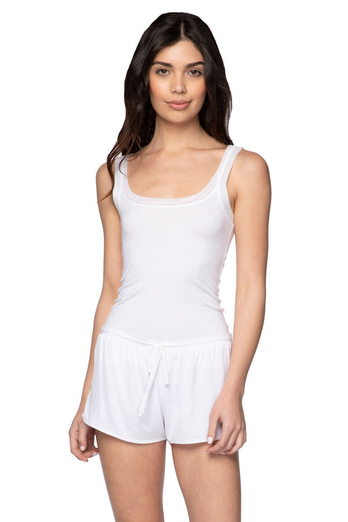 Stretch Knit Lounge Short with Mesh Trim in White - Subtle Luxury