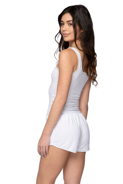 Stretch Knit Lounge Short with Mesh Trim in White