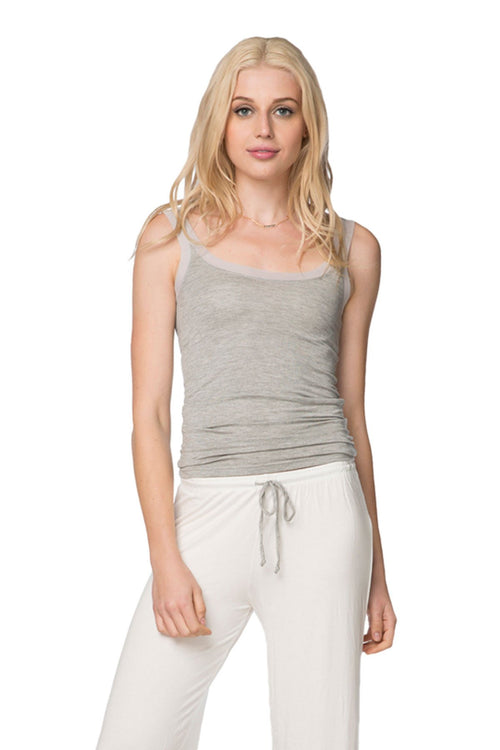Stretch Knit Cami with Mesh Trim in Heather