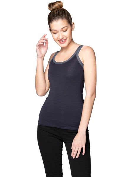 Stretch Knit Cami with Mesh Trim in Nite - Subtle Luxury