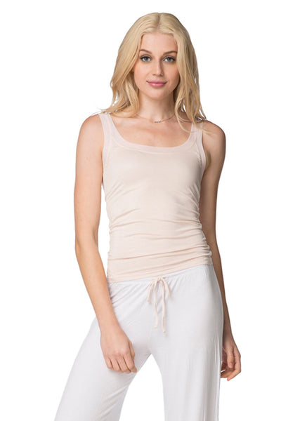 Stretch Knit Cami with Mesh Trim in Tearose