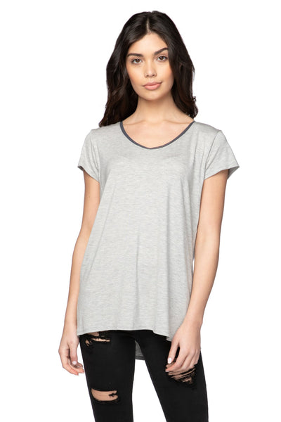 Mesh Trim Layering Tee in Ash - Subtle Luxury