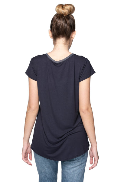 Mesh Trim Layering Tee in Nite - Subtle Luxury