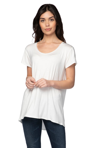 Mesh Trim Layering Tee in Nude (Ivory) - Subtle Luxury