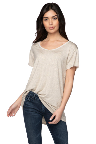 Mesh Trim Layering Tee in Oat - Subtle Luxury