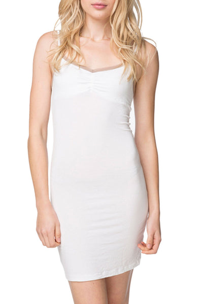 Slip Dress with Contrast Mesh Trim