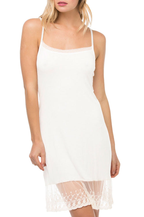 Dotted Mesh & Lace Cami Slip Dress in White - Subtle Luxury