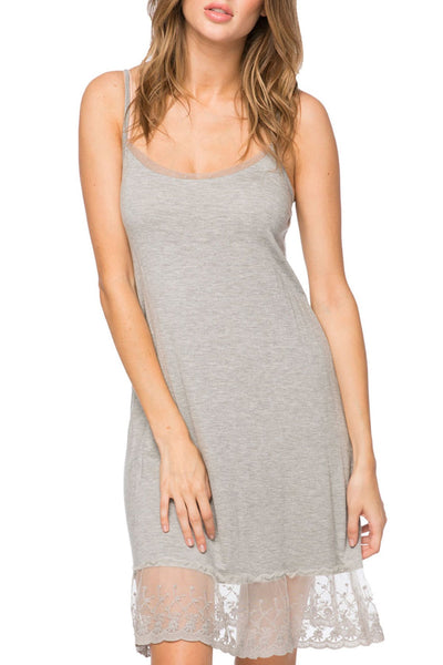 Dotted Mesh & Lace Cami Slip Dress in Heather Grey - Subtle Luxury