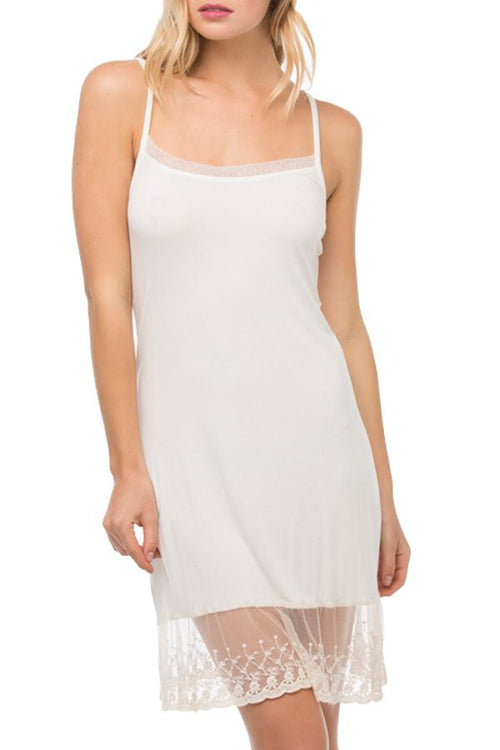 Dotted Mesh & Lace Cami Slip Dress in Nude (Ivory) - Subtle Luxury