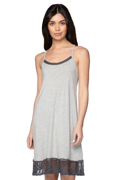 Cami Slip Dress with Lace Border in Ash - Subtle Luxury