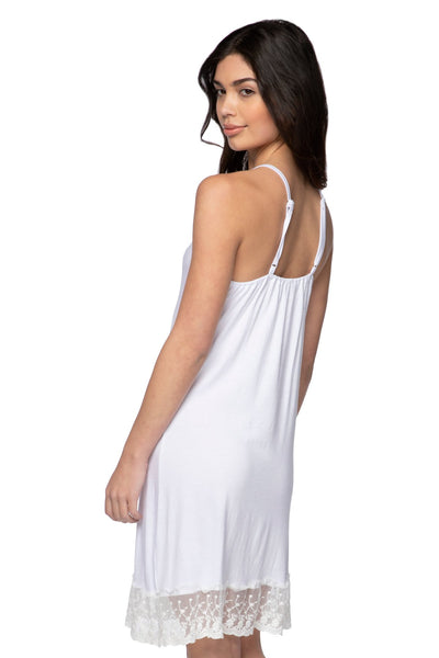 Cami Slip Dress with Lace Border in White